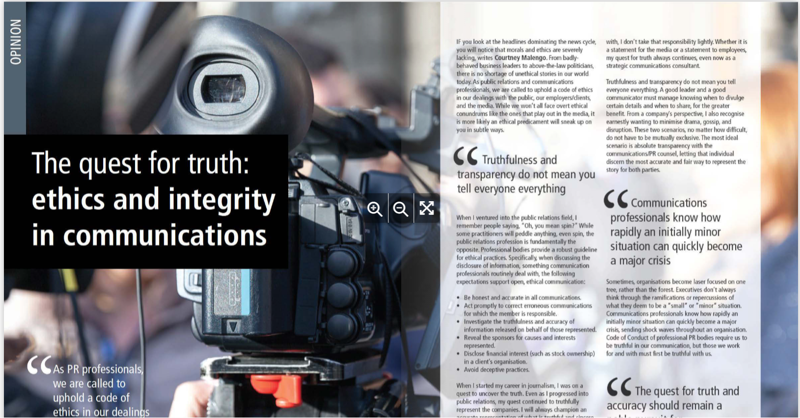 Quest for truth and integrity in communications, written by Spark and Buzz Communications' Founder Courtney Malengo for Strategic Magazine.